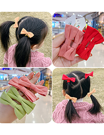 Fashion 1 Pair Of Green Bow Hair Rope Bowknot Fabric Childrens Hair Rope