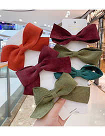 Fashion A Style Bow Hair Clip [orange] Small Bowknot Fabric Alloy Childrens Hairpin