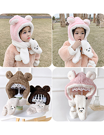 Fashion Coffee Color 6 Months-4 Years Old Little Bear Plush Contrast Color Childrens Hat And Scarf
