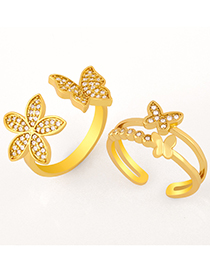Fashion A Gold Color Butterfly Diamond Open Ring