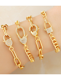 Fashion Type A Chain Lock Gold-plated Copper Bracelet With Diamonds