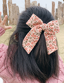 Fashion Floral Bow [beige] Childrens Hairpin With Fabric Floral Bow