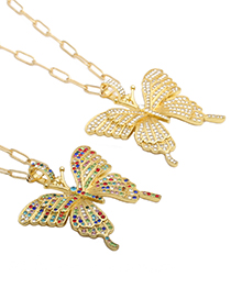 Fashion Color Butterfly Alloy Rhinestone Butterfly Necklace