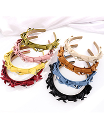 Fashion Off-white Bow Tie Leather Hair Band