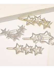 Fashion Silver Color Butterfly Pearl And Diamond Cross Crescent Geometry Alloy Word Clip