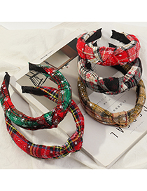 Fashion Red Christmas Plaid Knotted Broad-brimmed Headband
