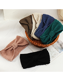 Fashion Coffee Color Wool Knitted Bow Solid Color Headband