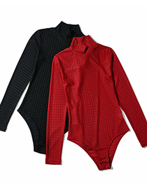 Fashion Black Stand-up Collar Diamond Check Knitted Bodysuit