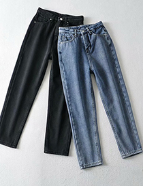 Fashion Blue Washed High-waisted Velvet Cropped Carrot Trousers