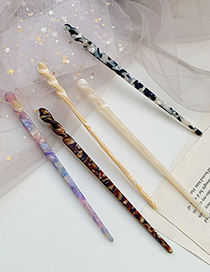Fashion White Acetate Ink And Colored Glaze Hairpin