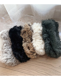 Fashion Coffee Color Real Rabbit Fur Knitted Empty Top Hat Headband