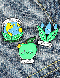 Fashion Earth Save Water Protect The Earth Protect The Earth Paint Enamel Brooch