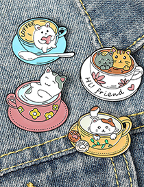 Fashion White Cat Coffee Cup Alloy Paint Enamel Brooch