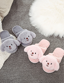 Fashion Gray Puppies Baotou Childrens Cotton Slippers