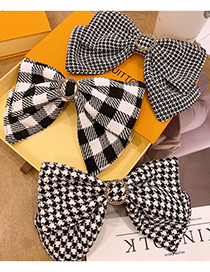 Fashion Hairpin Large Houndstooth Fabric Big Bow Houndstooth Hairpin Hair Rope