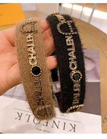 Fashion Black Rhinestone Wide Mohair Broad-brimmed Letter Headband