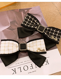 Fashion Black Checked Bow Wide-brimmed Hairpin