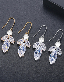 Fashion Platinum Copper Inlaid Zircon Pearl Leaf Earrings