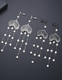Fashion Platinum Love Natural Pearl Inlaid Zircon Tassel Earrings