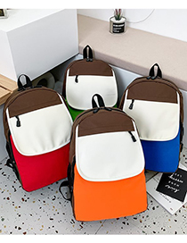 Fashion Red Stitching Contrast Canvas Backpack