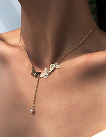 Fashion Golden Alloy Pearl Butterfly Necklace