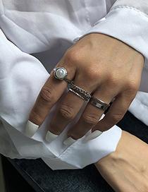 Fashion White K 5-piece Alloy Pearl Geometric Ring Set