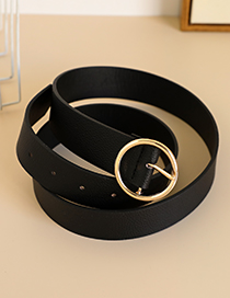 Fashion Black Alloy Pu Round Head Belt