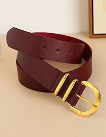 Fashion Red Alloy Pu Half Round Head Belt