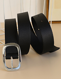 Fashion Black Alloy Pu Square Head Belt