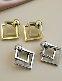 Fashion Golden Alloy Double Checkered Earrings