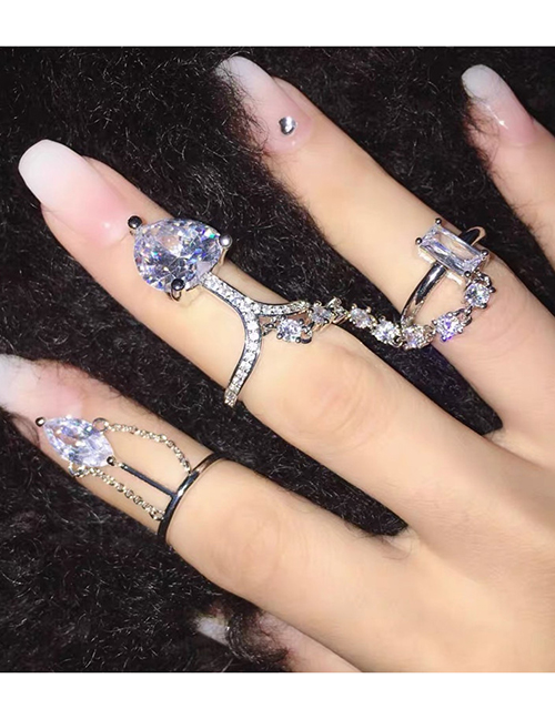 Fashion Double Ring Double Finger Micro Inlaid Zircon Love Heart Open One Piece Ring