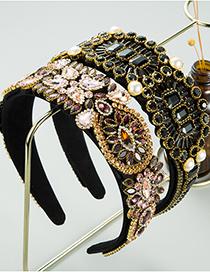 Fashion Color Diamond Wide-brimmed Pearl Geometric Headband