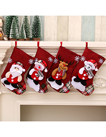 Fashion Bear Linen Santa Elk Christmas Stocking