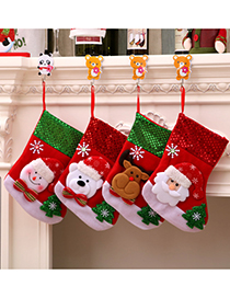 Fashion Medium Bear Santa Elk Christmas Stocking Decoration