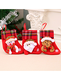Fashion Bear Santa Elk Bear Christmas Stocking