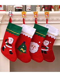 Fashion Green Side Socks (random Pattern) Christmas Applique Old Man Snowman Christmas Stocking