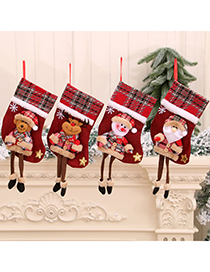 Fashion Bear Christmas Doll Doll Three-dimensional Linen Long-leg Christmas Stocking