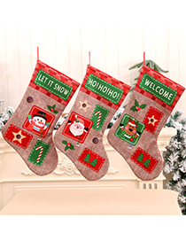 Fashion Deer Christmas Extra Large Linen Letter Print Christmas Stocking