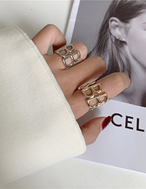 Fashion Silver Letter Alloy Hollow Wide Side Open Ring