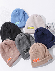 Fashion Blue Double-layer Letter Logo Couple Knit Cap