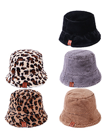 Fashion Caramel Plush Leather Label Leopard Print Fisherman Hat