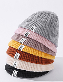 Fashion Pink Solid Color Knitted Label Letter Wool Fisherman Hat
