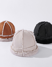 Fashion Beige Suede Stitching Double-sided Fisherman Hat