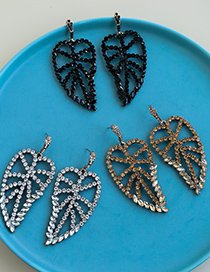 Fashion Champagne Alloy Diamond Hollow Leaf Earrings