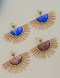 Fashion Light Brown Alloy Resin Half Round Earrings