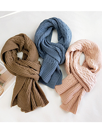 Fashion Striped Thin Chain Gray Striped Woven Thick Warm Wool Knitted Scarf