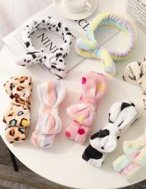 Fashion Cow Pattern Leopard Print Plush Butterfly End Headband