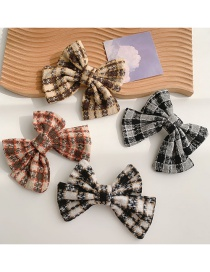 Fashion Yellow Plaid Bow Woolen Hairpin