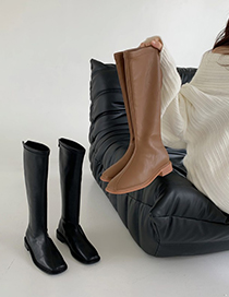 Fashion Black Thick Heel Zip But Knee High Boots