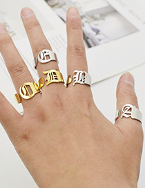 Fashion Silver Color Z Ancient English Letter Hollowed Titanium Steel Ring